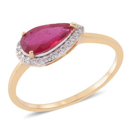 African Ruby (Pear 2.50 Ct), White Zircon Ring in 14K Gold Overlay Sterling Silver 2.750 Ct.