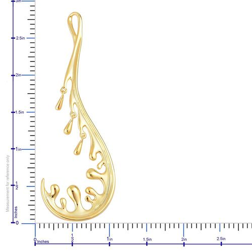 LucyQ Motion Wave Pendant in Yellow Gold Overlay Sterling Silver 5.75 Gms.