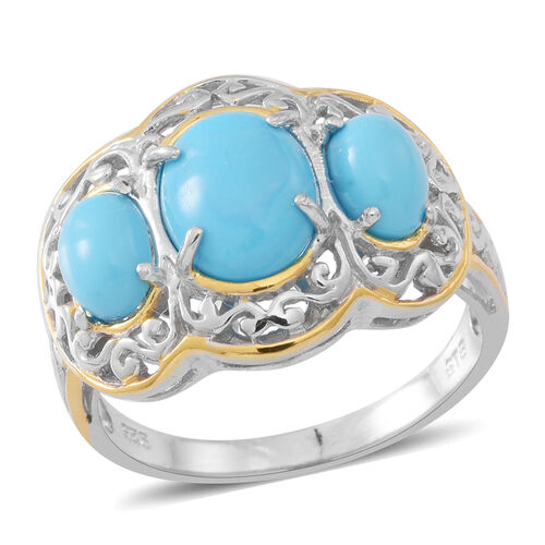 AAA Arizona Sleeping Beauty Turquoise (Ovl 2.50 Ct) 3 Stone Ring in Rhodium and Gold Overlay Sterling Silver 4.000 Ct.