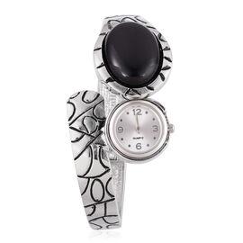 Black Onyx Bangle Watch in Silver Tone 30.000 Ct.