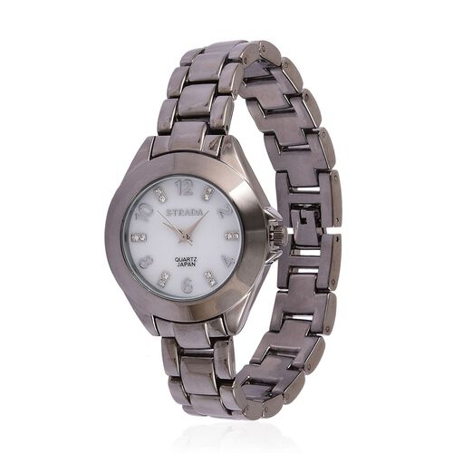 STRADA Japanese Movement White Austrian Crystal Studded MOP Dial Watch in Black Tone with Stainless Steel Back