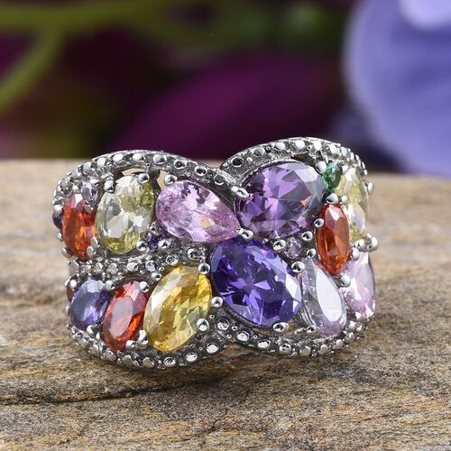 AAA Simulated Tanzanite (Ovl), Simulated Amethyst, Simulated Peridot, Simulated Citrine, Simulated Pink Sapphire, Simulated Garnet and Multi Gem Stones Ring in ION Plated Stainless Steel