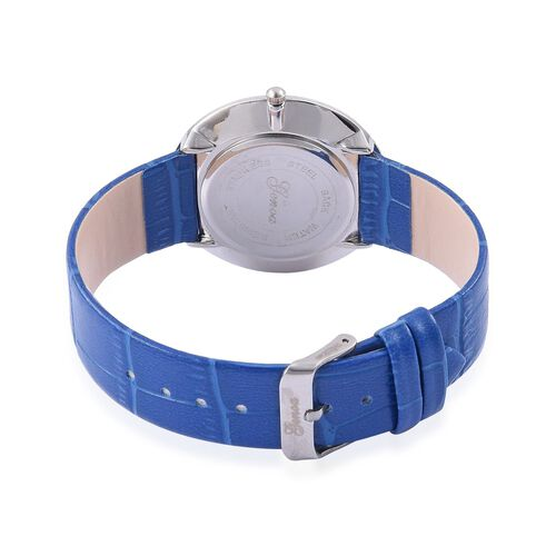 GENOA Japanese Movement White Austrian Crystal Studded White Dial Lapis Lazuli Water Resistant Watch in Silver Tone With Stainless Steel Back and Blue Strap 25.000 Ct.