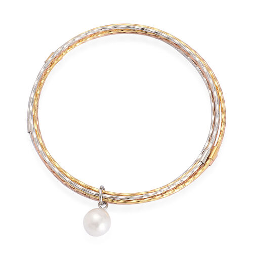 Stainless Steel Silver, Yellow Gold and Rose Gold Tone Bracelet (Size 7.5)