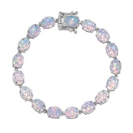 Limited Edition - 19 Carat AAA Rare Size Ethiopian Welo Opal Bracelet in Platinum Plated Silver 7.5 Inch