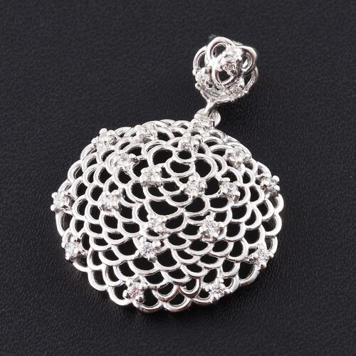 J Francis - Platinum Overlay Sterling Silver (Rnd) Pendant Made with SWAROVSKI ZIRCONIA
