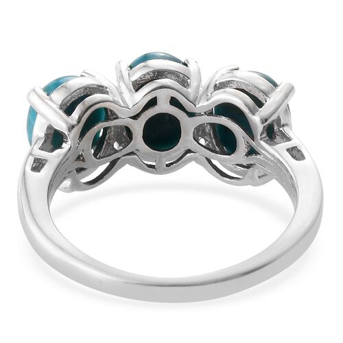 Natural Rare Opalina (Ovl) Trilogy Ring in Platinum Overlay Sterling Silver 3.000 Ct.