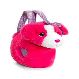 Keel Toys - Dog in a bag- Fuchsia (Size 20 Cm)