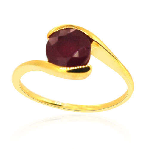 African Ruby (Rnd) Solitaire Ring in 14K Gold Overlay Sterling Silver 2.750 Ct.