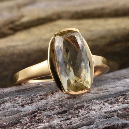Natural Ouro Verde Quartz (Cush) Solitaire Ring in 14K Gold Overlay Sterling Silver 3.750 Ct.