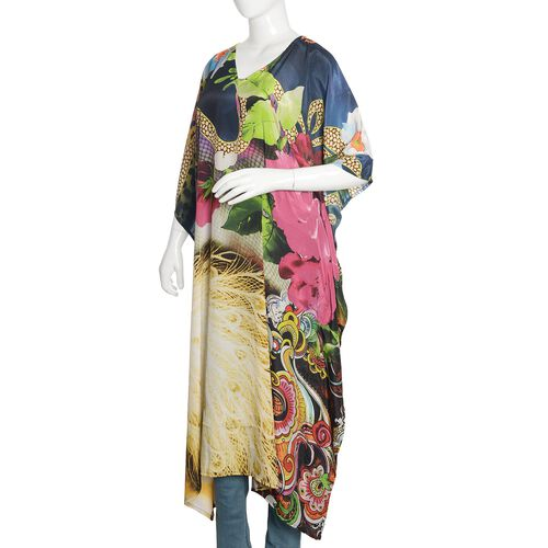 Green, Pink and Multi Colour Floral and Leopard Digital Printed Kaftan (Free Size)
