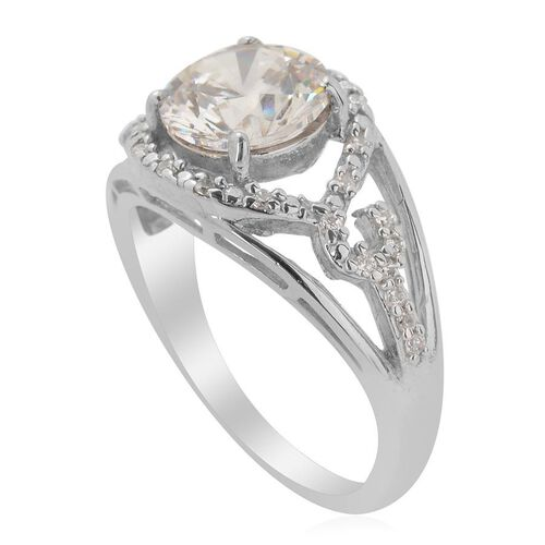 J Francis - Platinum Overlay Sterling Silver (Rnd) Ring Made with SWAROVSKI ZIRCONIA  2.264 Ct.