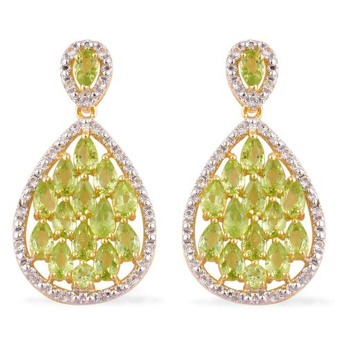 AA Hebei Peridot (Pear), White Topaz Earrings (with Push Back) in Yellow Gold Overlay Sterling Silver 6.500 Ct.