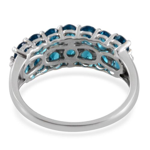 Malgache Neon Apatite (Ovl), Diamond Ring in Platinum Overlay Sterling Silver 2.260 Ct.