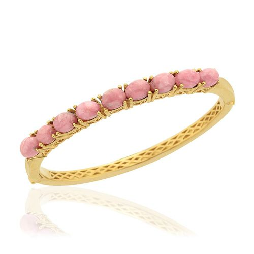 Argentinian Rhodochrosite (Ovl) Bangle in 14K Gold Overlay Sterling Silver (Size 7.5) 10.500 Ct.