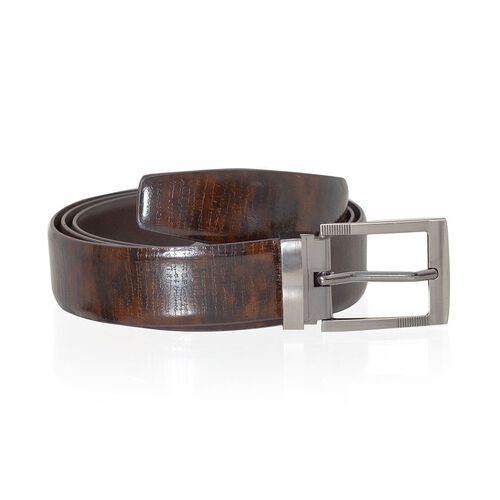 Genuine Leather Brown Colour Mens Belt with Silver Tone Buckle (Size 36 - 39 inch)