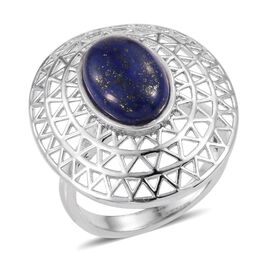 Lapis Lazuli (Ovl) Ring in ION Plated Platinum Bond 6.500 Ct.