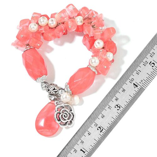 Set of 2 - Brazilian Aventurine, Cherry Quartz, Fresh Water White Pearl and White Glass Pearl Stretchable Bracelet (Size 6) with Rose Charm in Silver Tone 768.00 Ct.