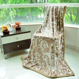 Superfine 300 GSM Microfiber Printed Flannel Light Brown Renaissance Pattern Blanket (Size 200X150 Cm)