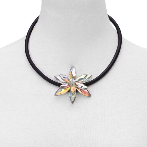 (Option 3) Multi Colour Glass Floral Necklace (Size 18 with 2 inch Extender) in Silver Tone 25.000 Ct.