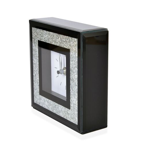 Home Decor - Silver Bling Embellished Black Colour Square Shape Clock with Glass at Front (Size 15X15X5 Cm)