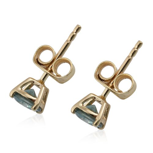 AA Blue Zircon Stud Earrings (with Push Back) in 9K Gold 1 Carat