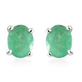 WEBEX- 9K White Gold (Ovl), Kagem Zambian Emerald Stud Earrings 0.600 Ct.
