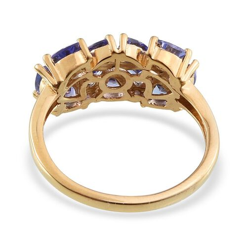 Tanzanite (Trl), Diamond Ring in 14K Gold Overlay Sterling Silver 2.520 Ct.