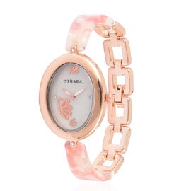 STRADA Japanese Movement White Austrian Crystal Studded MOP Dial Watch in Rose Gold Tone with Stainless Steel Back and Pink Colour Strap