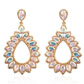 Mercury Mystic Topaz (Pear) Earrings (with Push Back) in 14K Gold Overlay Sterling Silver 9.000 Ct.