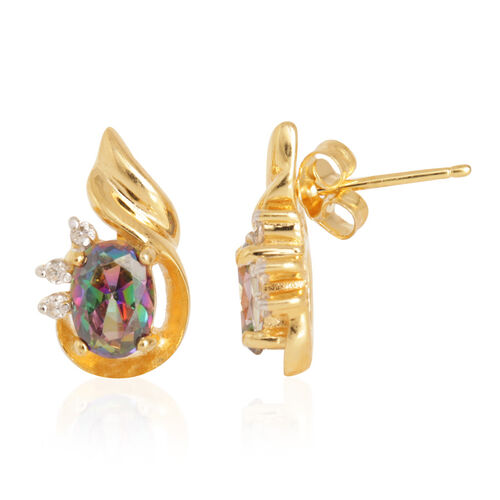 Close Out Deal Northern Lights Mystic Topaz (Ovl), Simulated Diamond Earrings (with Push Back) in 14K Gold Overlay Sterling Silver 2.000 Ct.