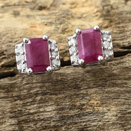 1.30 Ct AA Burmese Ruby and Diamond Earrings in 9K White Gold