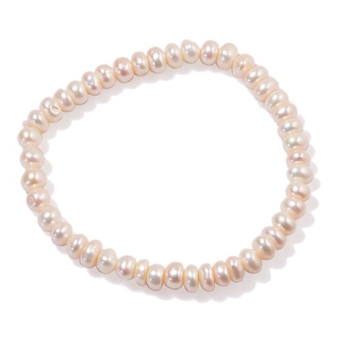 AAA Fresh Water White Pearl Necklace (Size 18) and Stretchable Bracelet in Sterling Silver 170.510 Ct.