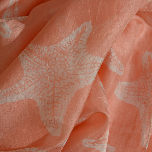 100% Mulberry Silk Peach and White Colour Star Printed Scarf (Size 180x100 Cm)