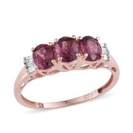 Rhodolite Garnet (Ovl), Diamond Ring in Rose Gold Overlay Sterling Silver 1.260 Ct.