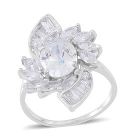 ELANZA AAA Simulated White Diamond (Ovl) Ring in Rhodium Plated Sterling Silver, Silver wt 3.52 Gms.
