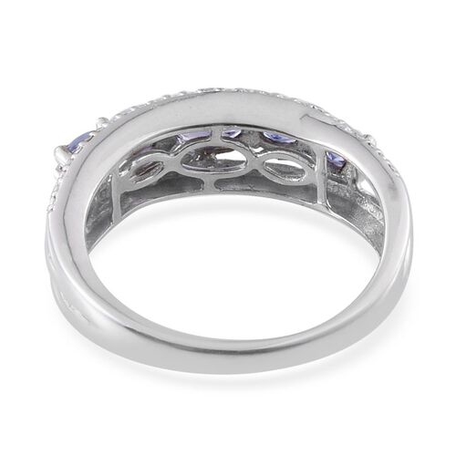 Tanzanite (1.15 Ct) and Diamond Platinum Overlay Sterling Silver Ring  1.160  Ct.