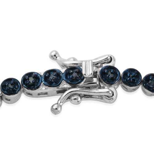 Blue Diamond (Rnd) Tennis Bracelet (Size 7.5) in Platinum Overlay Sterling Silver 0.750 Ct.