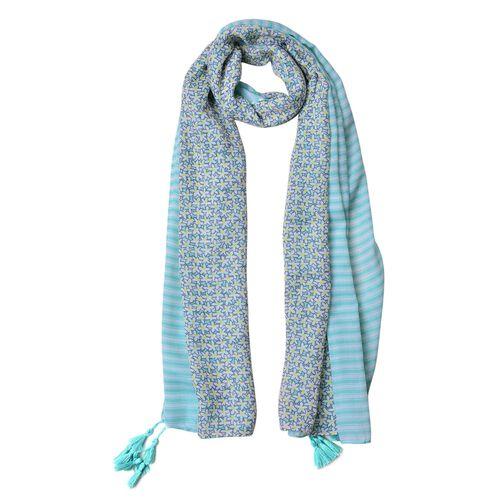 Turquoise, Grey and Yellow Colour Floral and Stripes Pattern Scarf with Tassels (Size 180X90 Cm)