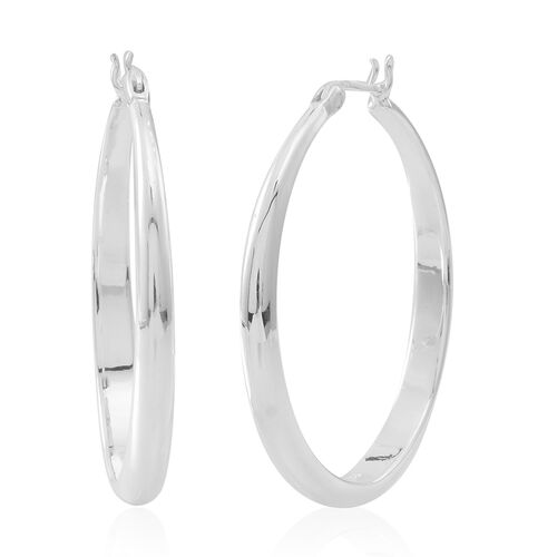 Vicenza Collection- Limited Available Sterling Silver Chunky Hoop Earrings (with Clasp), Silver wt 20.03 Gms.