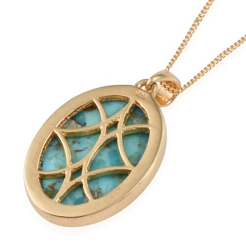 Arizona Matrix Turquoise (Ovl) Pendant With Chain in 14K Gold Overlay Sterling Silver 12.000 Ct.