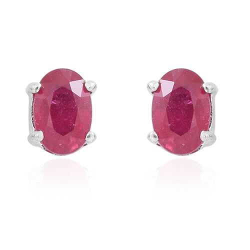 AAA African Ruby (Ovl) Stud Earrings (with Push Back) in Rhodium Plated Sterling Silver 1.250 Ct.