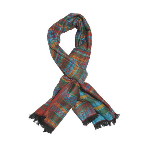 Red and Multi Colour Abstract Pattern Scarf with Fringes (Size 180x65 Cm)