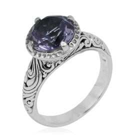 Royal Bali Collection Rose De France Amethyst (Rnd) Solitaire Ring in Sterling Silver 3.202 Ct.