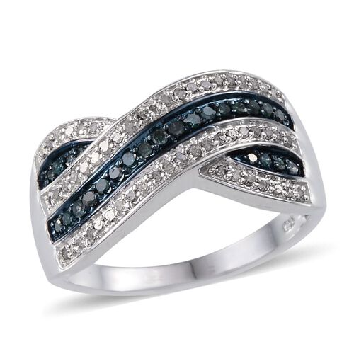 Blue Diamond (Rnd), White Diamond Criss Cross Ring in Platinum Overlay Sterling Silver 0.500 Ct.