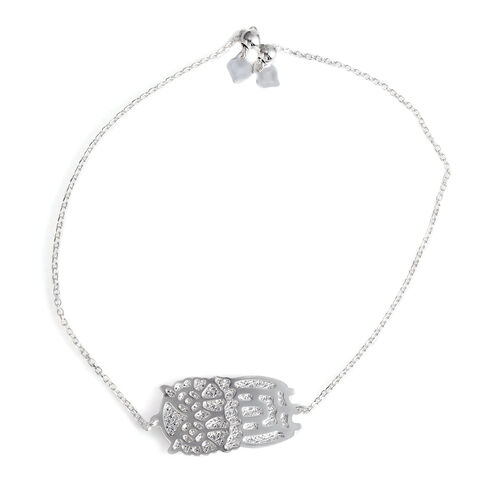 JCK Vegas Collection Sterling Silver Owl Bracelet (Size 6 to 8.5 ), Silver Wt 4.00 Gms.