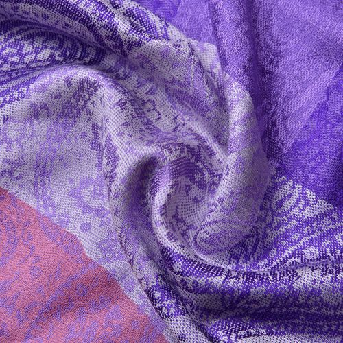 Light and Dark Purple Colour Checks and Paisley Pattern Scarf with Tassels (Size 180X65 Cm)