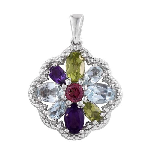 Hebei Peridot (Ovl), Amethyst, Espirito Santo Aquamarine, Rhodolite Garnet, Hebei Peridot and Sky Blue Topaz Pendant in Platinum Overlay Sterling Silver 2.470 Ct. Silver wt 3.27 Gms.