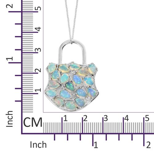Ethiopian Welo Opal (Pear) Padlock Inspired Pendant with Chain in Platinum Overlay Sterling Silver 4.750 Ct. Silver wt 7.11 Gms.