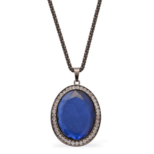 Simulated Blue Sapphire and White Austrian Crystal Pendant With Chain (Size 30) in Black Tone